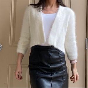 White Angora Open Cardigan